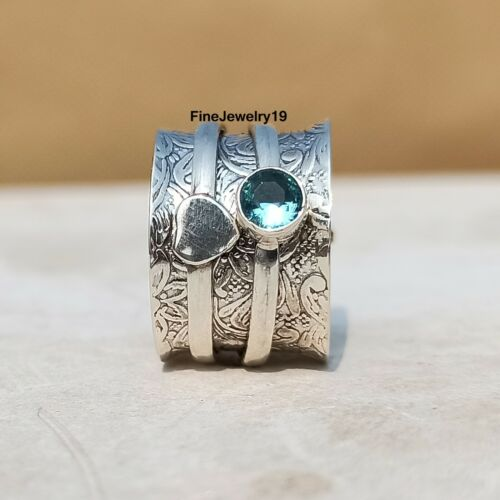 H23 Blue Topaz Ring 925 Sterling Silver Spinner Ring Meditation Statement Ring
