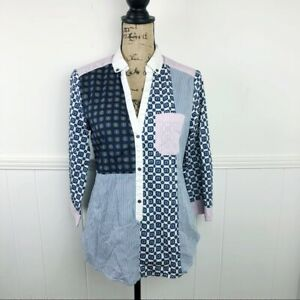 Anthropologie-HD-In-Paris-Blue-Pink-White-Block-Plaid-Top-NWT-Size-6-MSRP-88-00