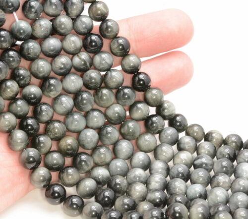 A265 Gray Hawk Eye Gemstone Round 6mm 8mm Loose Beads