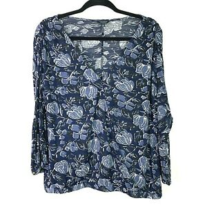 LUCKY-BRAND-Womens-Sz-XL-Top-Floral-Blue-Front-Cross-Over-V-Neck-Long-Sleeve