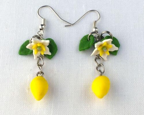 boho retro handmade Lemon earrings