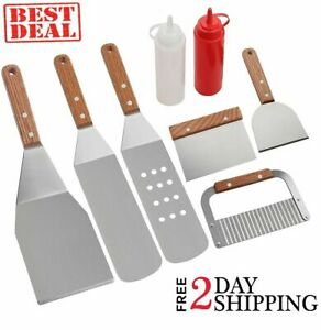 Griddle Spatula Set Grill Tool Scrapper Frying Stainless Steel Barbecue Bbq