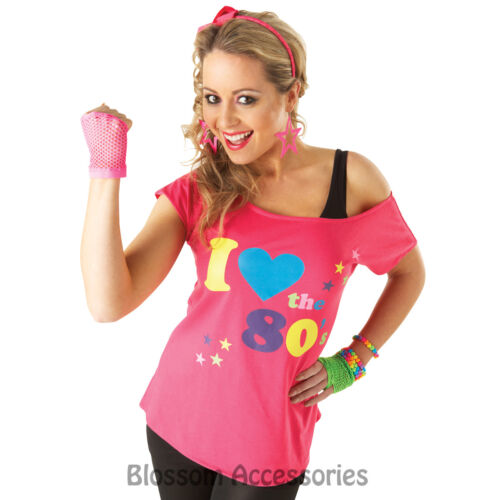 C955 I Love the 80/'s Pink T-shirt Costume 1980s Fancy Dress Top Outfit