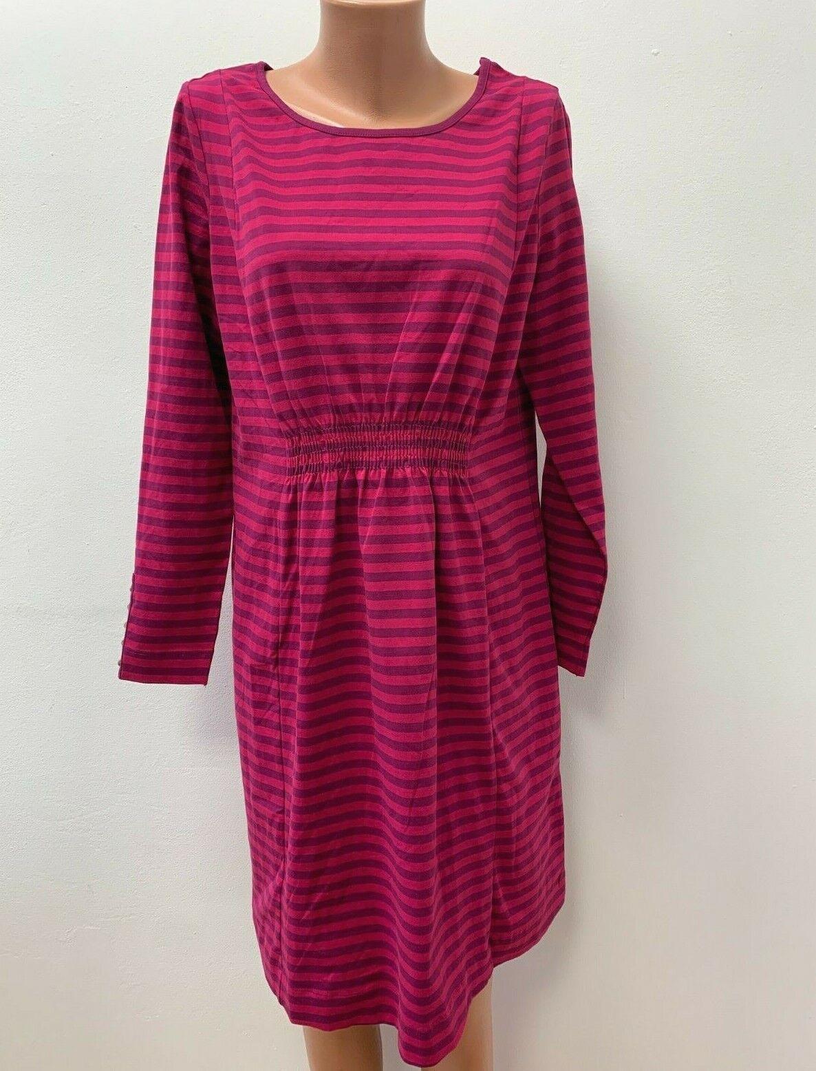 DEERBERG Gr. M / L Stretch Kleid Jersey Rosa Magenta Fuschia Gestreift langarm