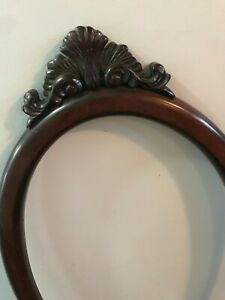Antique-Ornate-Wood-Carved-Frame-Picture-Photo-OVAL-Painting-Dark-Baroque-28x16