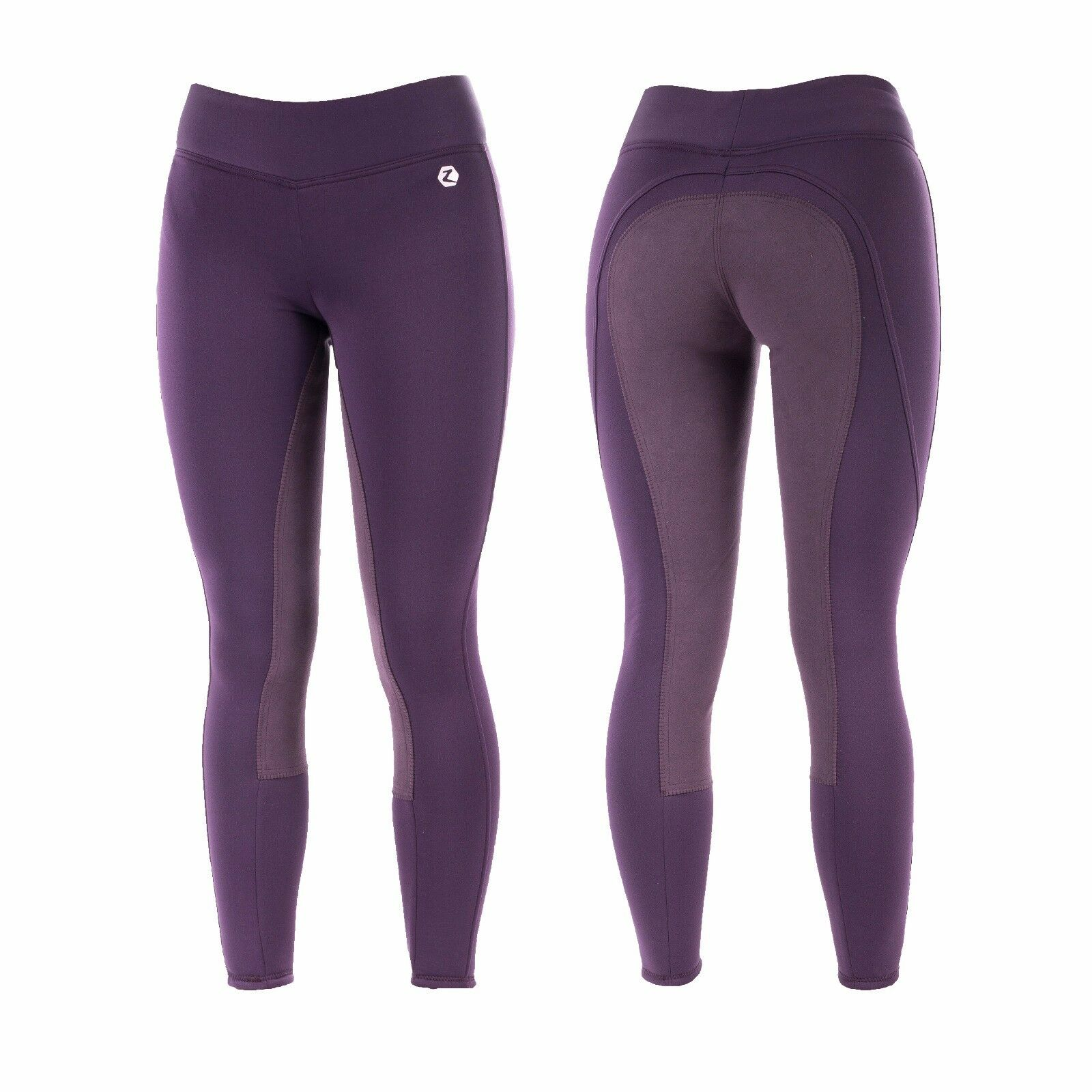 Horze Active Winter Full Seat Tights in Purple