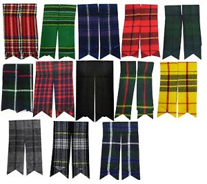 Mens-Kilt-Hose-Sock-Flashes-With-Garter-Various-Tartans-Pointed-Highland-Wear