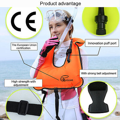 Adults Inflatable Life Vest For Snorkeling Surfing Boating Swimming Watersport