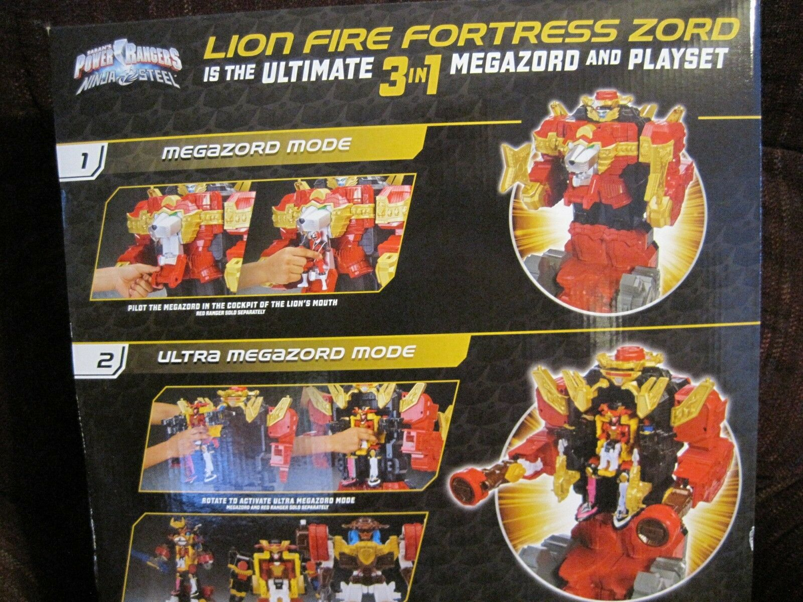 SABAN'S POWER POWER POWER RANGERS NINJA STEEL LION FIRE FORTRESS ZORD OVER 20  TALL--NEW 4c2f46