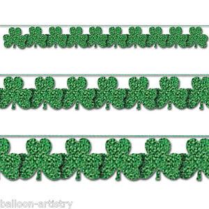 9ft-St-Patrick-039-s-Day-Green-Prismatic-Shamrock-String-Garland-Decoration