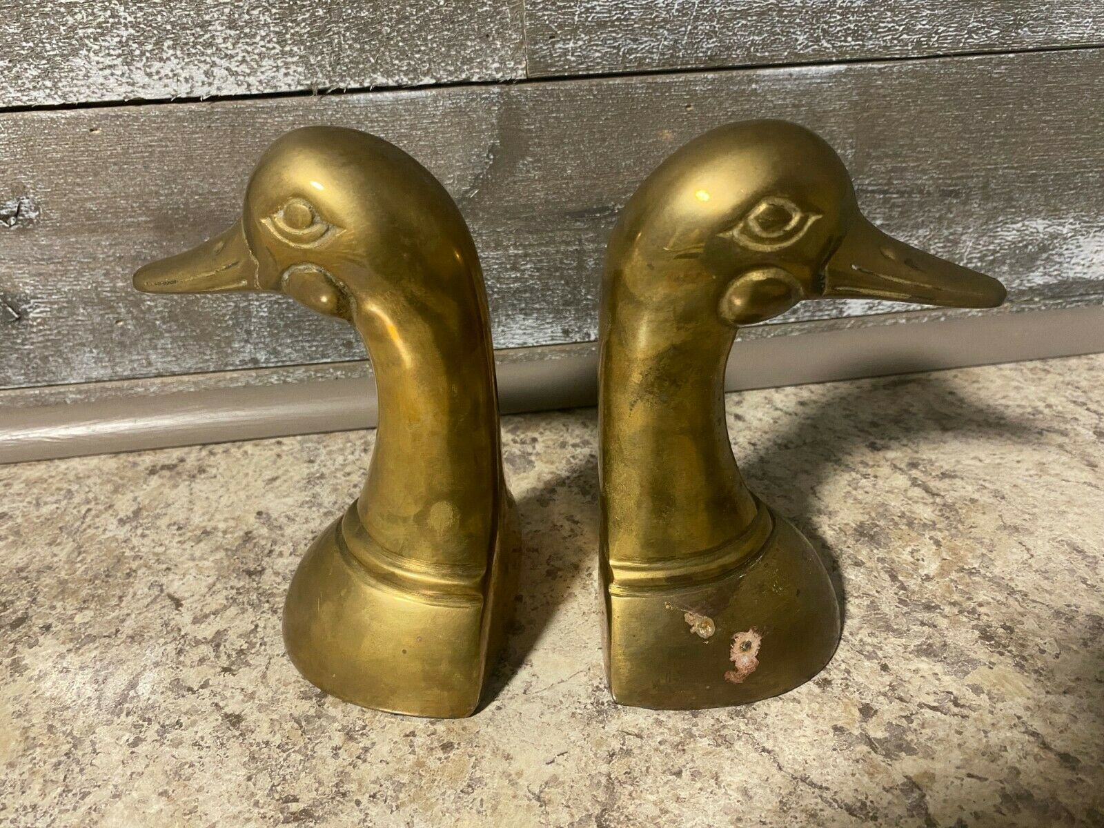 Pair of Vintage Brass Duck BOOK ENDS~Mallard Fowl Bird~Heavy 6 12 Tall Retro Mod Brass Bookends Home Library Decor