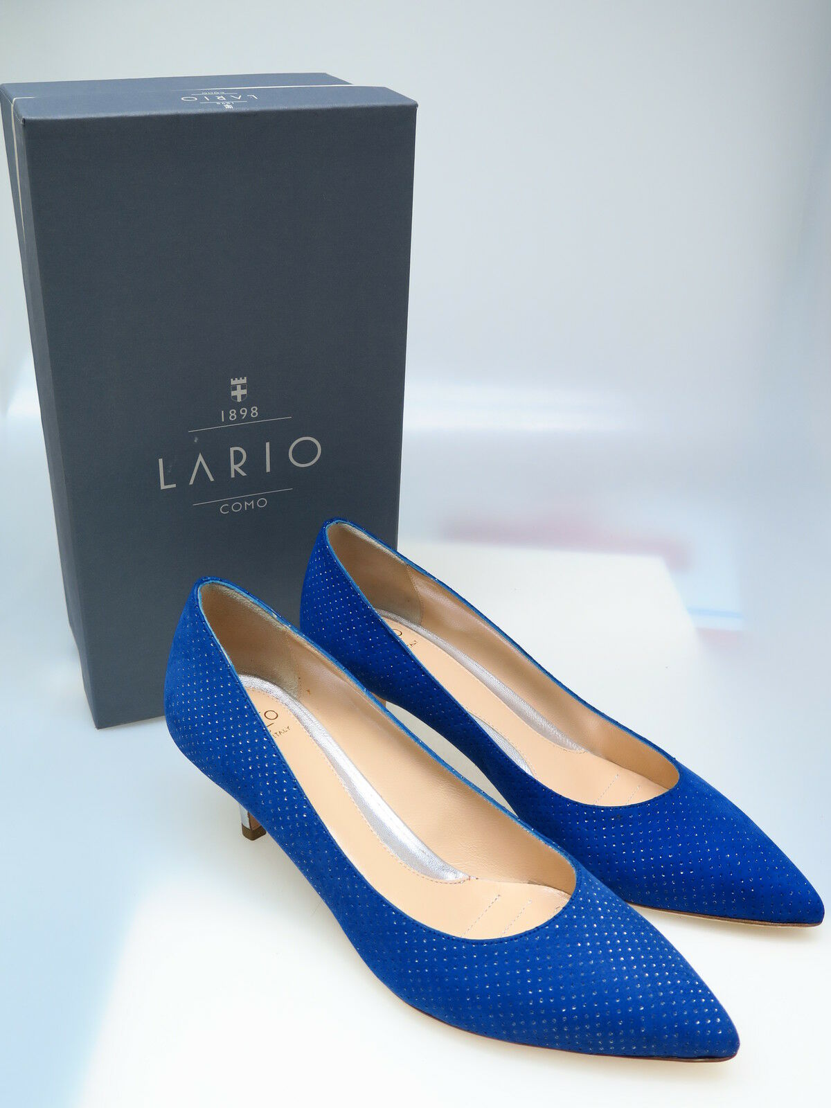 LARIO COMO 1898 Designer Damenschuhe LR1049 Lame Foro Lame LR1049 Blautte Palo Gr. 40,5 NEU 985700