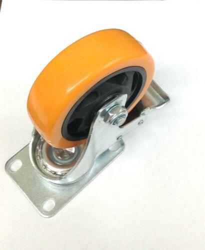 Heavy Duty Caster Swivel Plate Polyurethane with Two Braking Wheels 4 inch 4