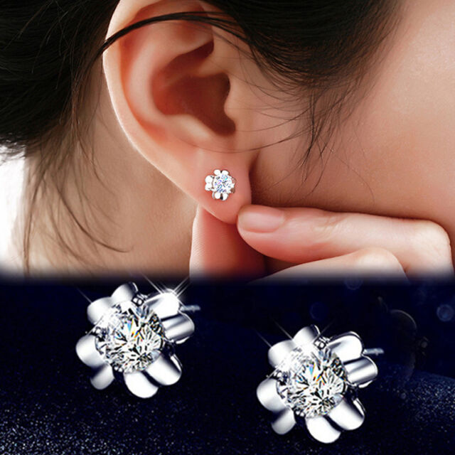 Chic Fashion silver Plated Cubic Zircon Clover Ear Studs Earrings Jewelry Gift