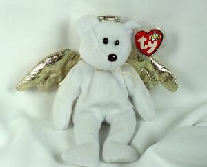 Ty Beanie Baby HALO II 2000 Angel Bear Plush Toy RARE BROWN NOSE NEW ... 39b25bd0952