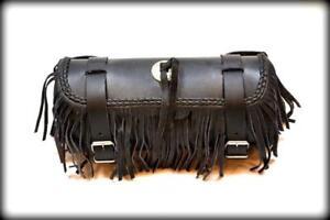 Sacoche-de-fourche-sac-trousse-a-outils-en-Cuir-avec-frange-lacet-moto-custom
