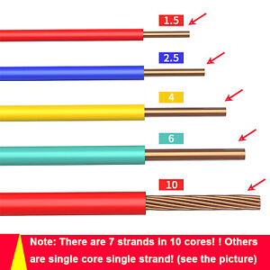 Electric Wire Extension Cable 1-Core BV Fit Home Lighting Outdoor DIY All Colour