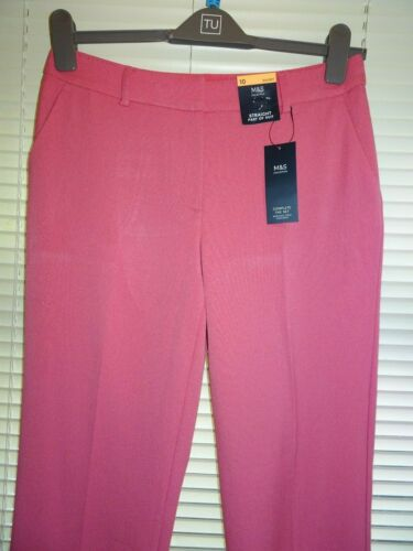 M/&S Pink Straight Leg Trousers *Size 10S 24S* BNWT 18R