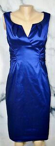 ADRIANNA-PAPELL-Shimmering-Blue-Sleeveless-Dress-8-Pleated-Neckline-Ruched-Waist