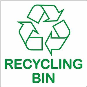 recycling bin sign 87x87mm self adhesive sticker recycle logo