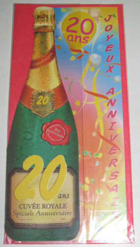 Birthday card champagne bottle 20 years 24x10 cm new