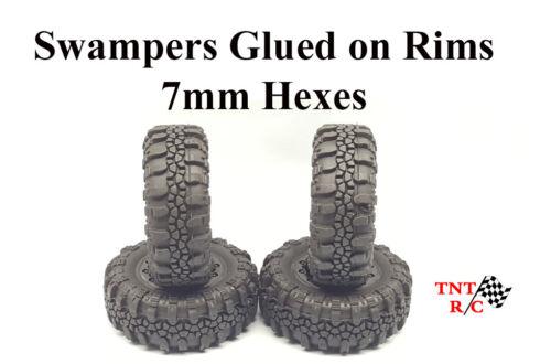 1//24th Swamper tires Glued on Rims for rock crawler r//c Axial ECX  Free Ship!!