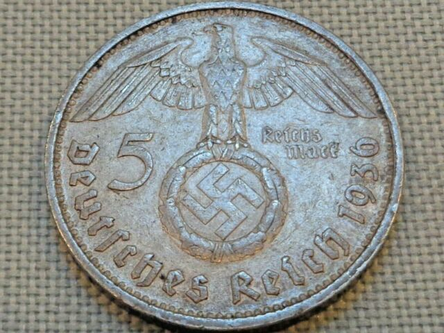 1 One WW2 German 5 Mark Silver Coin Third Reich Reichsmark Hindenburg