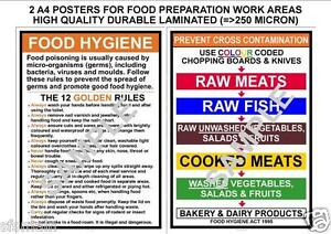 Details About Food Hygiene Prevent Cross Contamination Kitchen Rules 2 A4 Laminated Posters