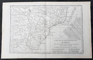 1780 Rigobert Bonne Original Antique Map of Brazil, South America