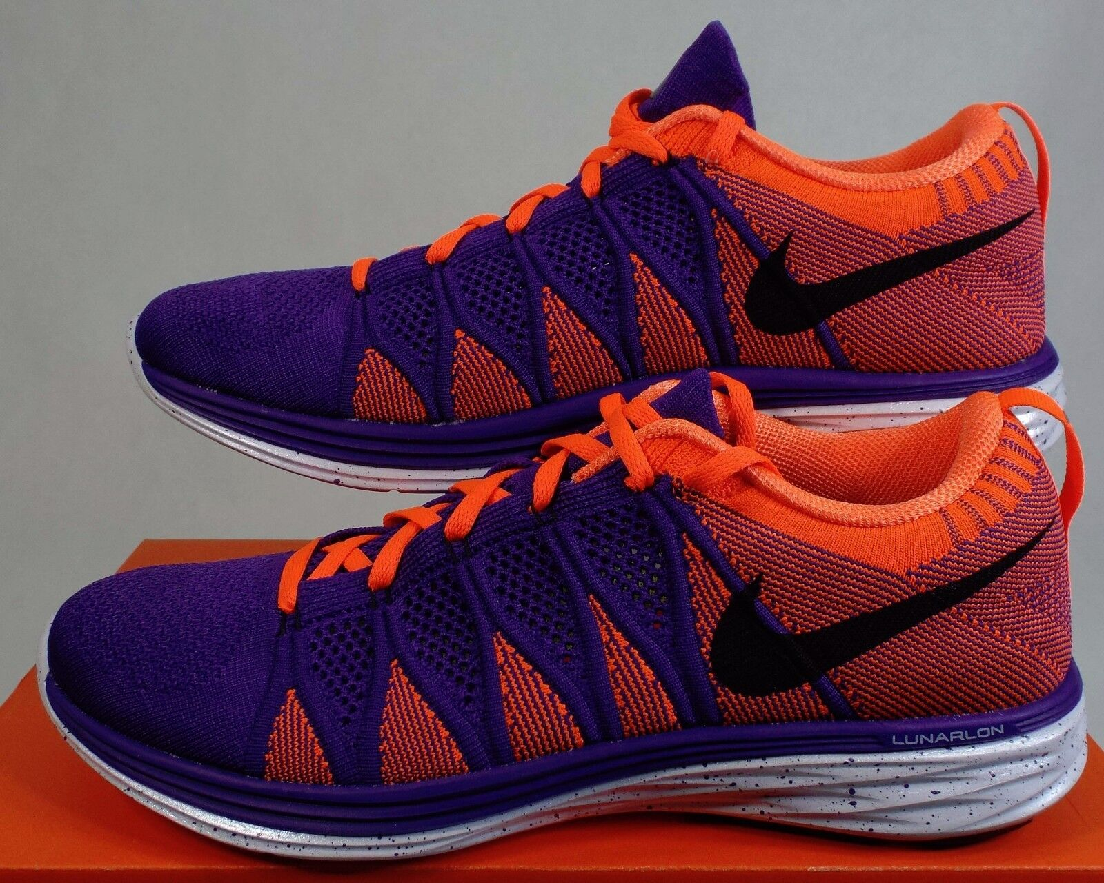 VERY RARE SAMPLE Mens 10 NIKE Flyknit Lunar 2 Purple orange shoes 620465-501