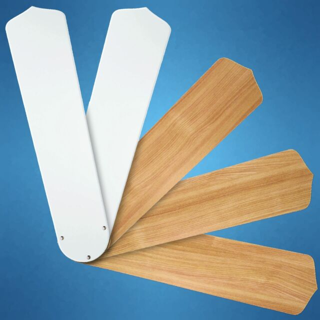 """Replacement Blades for 52"""" Ceiling Fan - 5-pack - Reversible White/Teak _236-B08"""