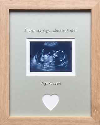 4 x 6 Inch Baby New Pregnancy Scan Wooden Photo Frame Auntie and Uncle Gift