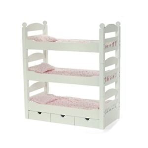 White Doll Bunk Bed Toy Furniture American Girl Dolls Wooden