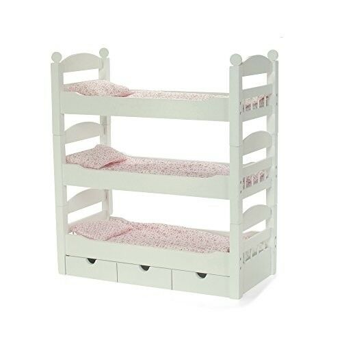 White Doll Bunk Bed Toy Furniture American Girl Dolls Wooden Bedding Mattress