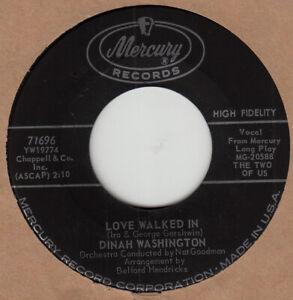 Dinah Washington 45 Rpm Quot Love Walked In Quot On Mercury