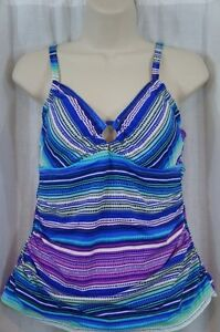 Island Escape Tankini Top Sz 8 Blue Multi Ring Front Ruched Swimsuit RP185213