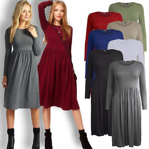Ladies-Women-Frankie-Swing-Dress-Flared-Skater-Jersey-Long-Sleeve-Midi-Plus