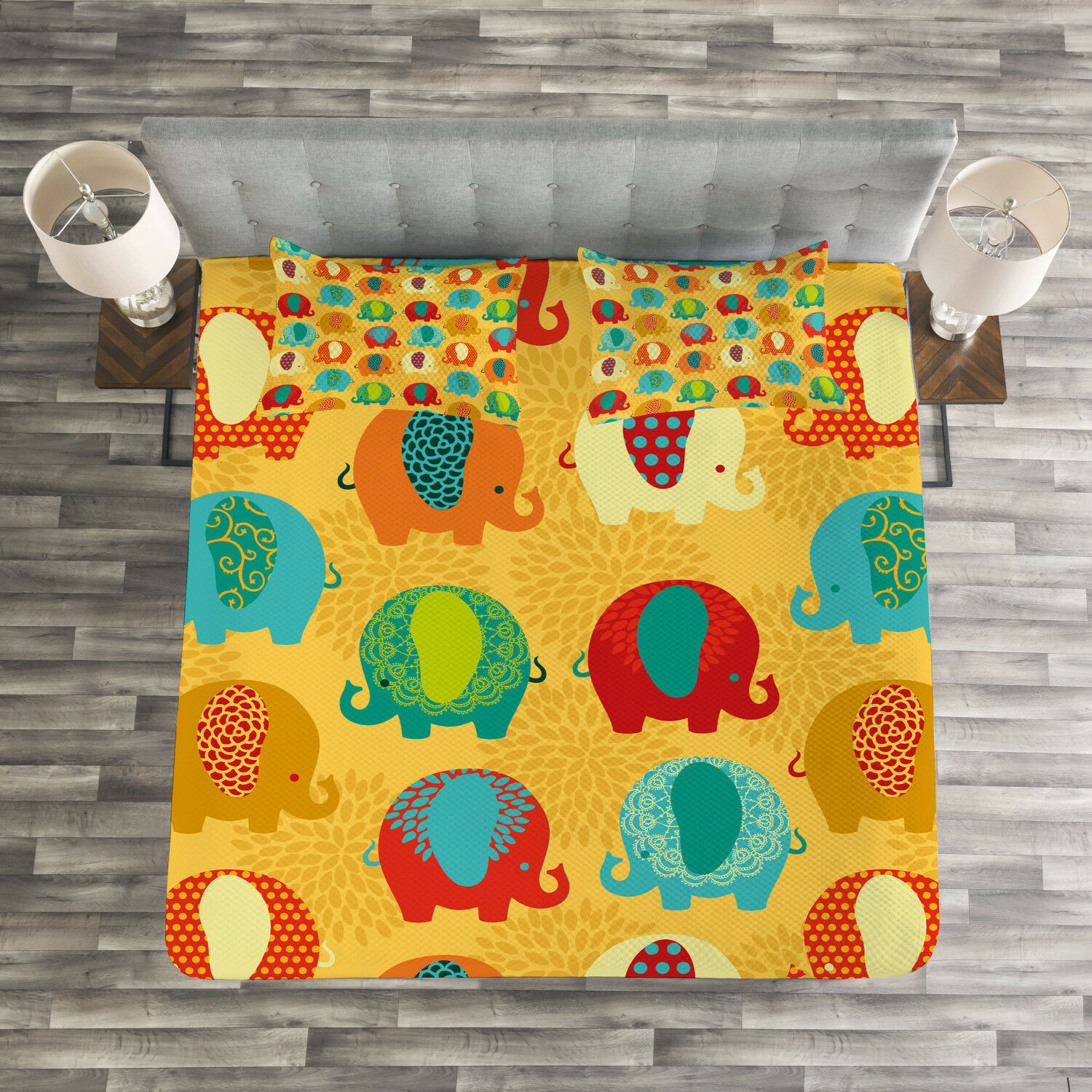 Elephant Nursery Quilted Bedspread & Pillow Shams Set, Ethnic Culture Print