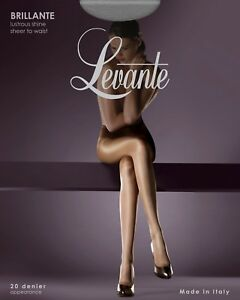 Levante Eclipse sheer to waist tights pantyhose satin matt sandal toe 15D  M