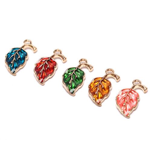 10Pcs Enamel Alloy Leaf Leaves Charms Metal Pendants DIY Craft Jewelry Fiha