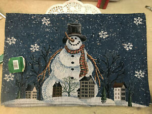 "Set of 3  Winter Holiday Tapestry Placemats Snowman 13"" x 19"""