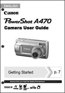 canon powershot a470 digital camera user guide instruction manual ebay rh ebay com Canon PowerShot S110 Digital Camera Canon PowerShot S110 Digital Camera