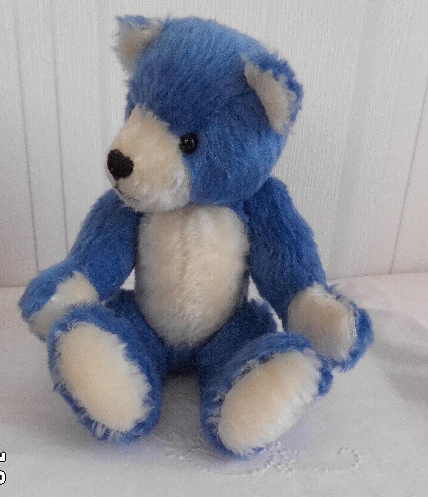 Handgefertigter Künstlerbär Teddy  Blaubeerchen  blau weiß glattes glattes glattes Mohair 30 cm 7aaa11