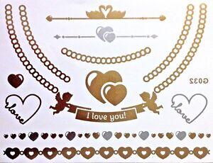 FLASH-UNA-VOLTA-temporaneo-COLLA-Tatuaggio-oro-argento-12-pezzi-bracciale-G32
