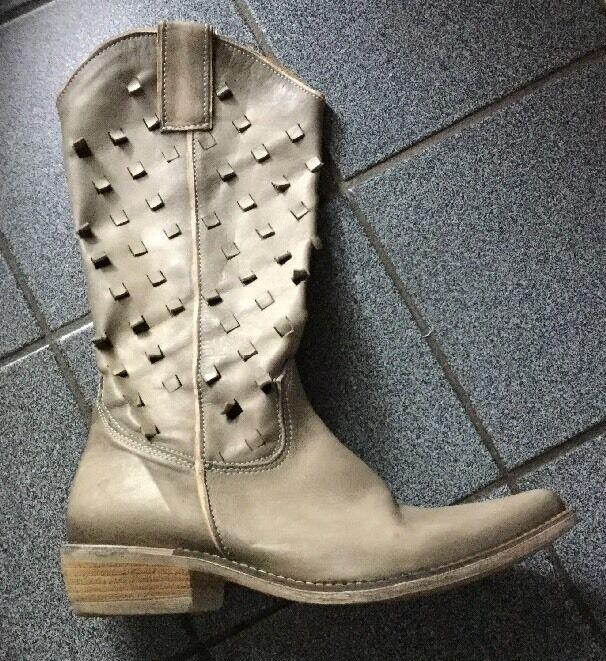 Lederstiefel ,Echtleder ,taupe,Sommerstiefel,Italien,Gr.39 Günstige und gute Schuhe