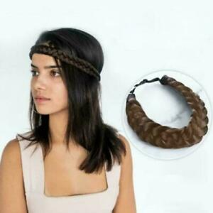 Fashion-Synthetic-Braided-Hair-Headband-Wig-Elastic-Princess-Headband-Band-X4I2