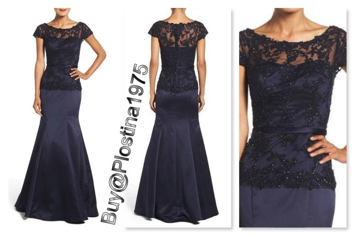 La Femme Embroidered Beaded Lace & Satin Mermaid Gown [Size  0 ]  B222
