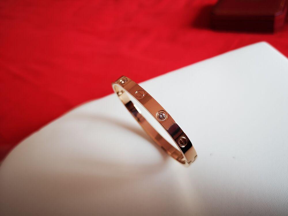 NEW-Cartier-Love Bracelet 18K Rose Gold(AU750) Diamonds Bangle Size 19