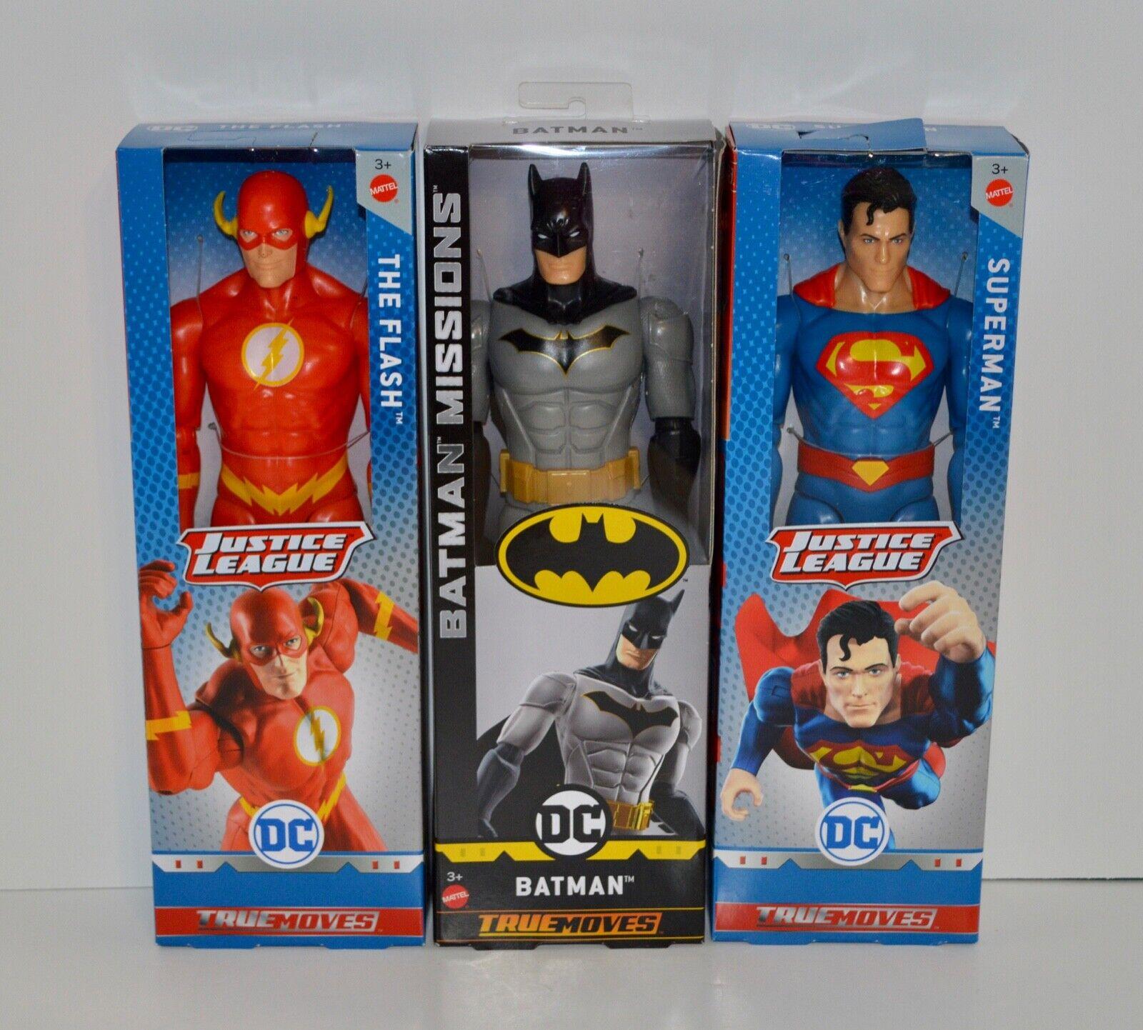 Mattel DC True Moves The Flash, Batuomo, e Superuomo cifras Bre nuovo