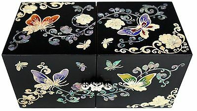 mother of pearl trinket jewelry box jewel case organizer black butterfly #209